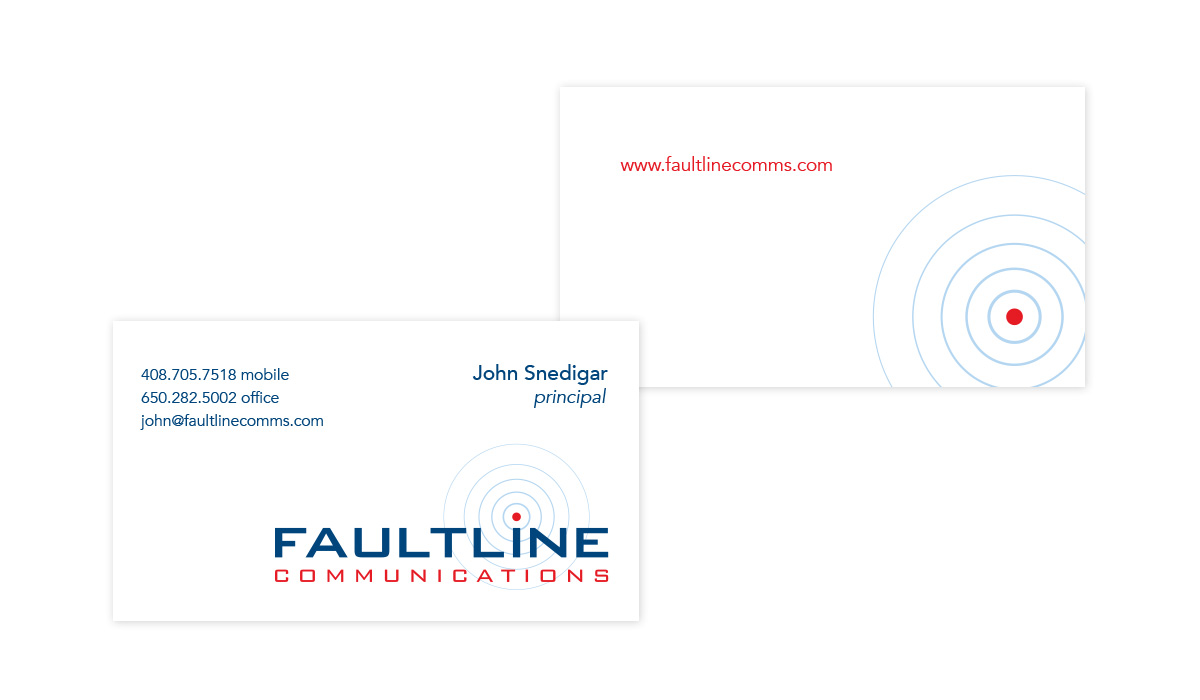 Business card for Faultline Communications