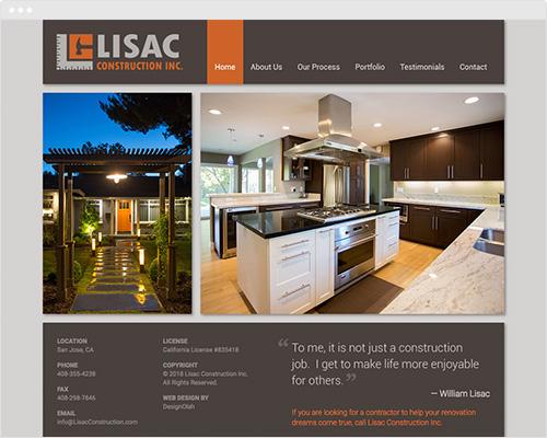 Home construction website design